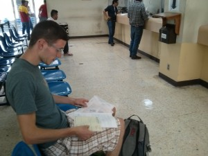 Waiting at the customs with various documents